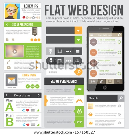 Flat Design for applications or web site. Templates can be used for sidebar. - stock vector