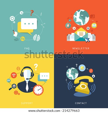 flat design for customer service concept graphic - stock vector