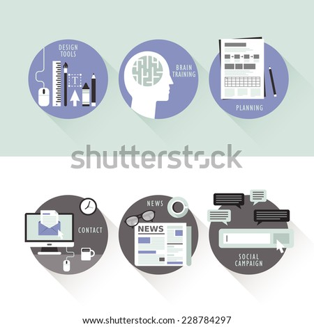 flat design for design and promote process - stock vector