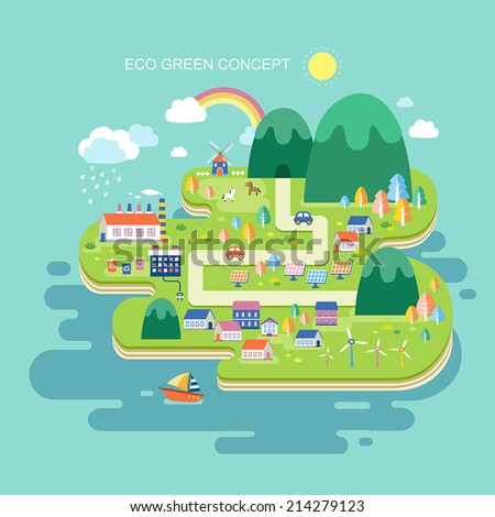 flat design for eco green concept graphic - stock vector