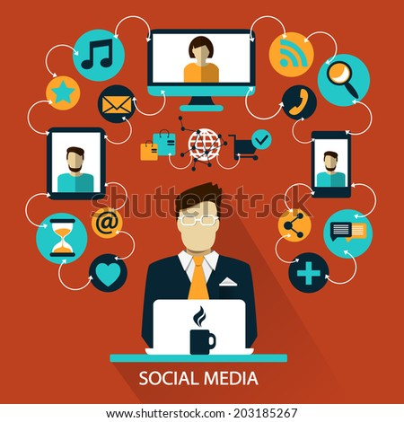 Flat design . Freelance career. Social media. - stock vector