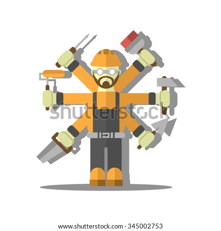 Flat design handyman builder icon with a lot of hands and different tools isolated on white background. Vector illustration. - stock vector