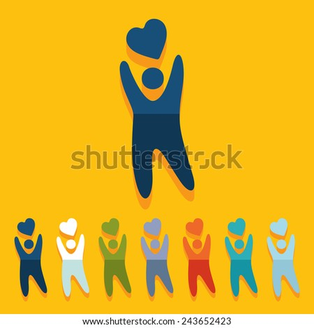 Flat design: happiness people - stock vector