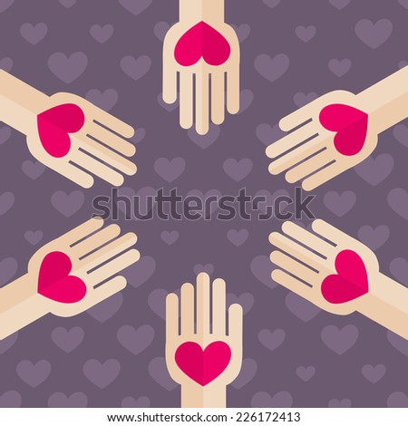 Flat Design Helping Hand with Hearts. Palm Holding Red Heart Vector Illustration - stock vector
