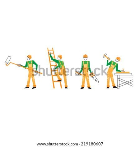 flat design home improvement worker - stock vector