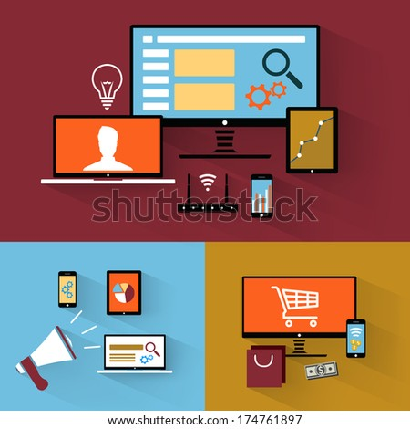 Flat Design icon collection for websites / mobile applications / internet advertising and internet shopping - stock vector