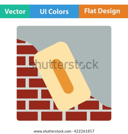 Flat design icon of plastered brick wall  in ui colors. Vector illustration.  - stock vector