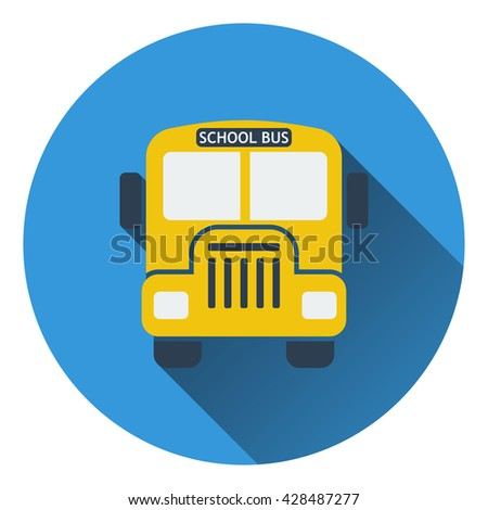 Flat design icon of School bus in ui colors. Flat design. Vector illustration. - stock vector