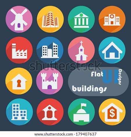 Flat design icon set - Buildings - stock vector