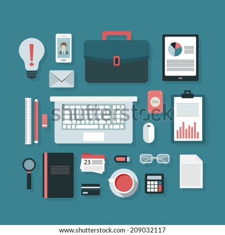 Flat design icon set in stylish colors of business workspace items and elements, office things and equipment. Vector illustration, isolated on green background. - stock vector