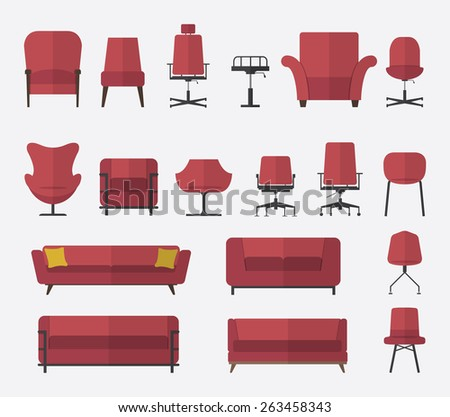 Flat design  icon set of chair and sofa in marsala color. Vector. Illustration. - stock vector