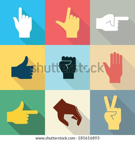 Flat design icon set of hands in many and different gesture with long shadow set 2. Vector illustration. - stock vector