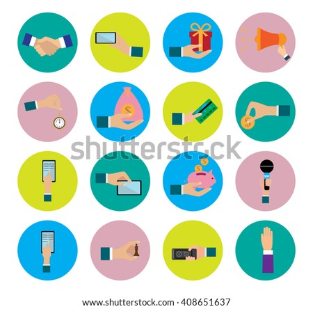 Flat design icons collection of hands using a variety of products. Hand in business situations. - stock vector