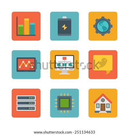 Flat design icons, Diagram Graph Statistics, Battery, Gear, Globe, Tablet Computer, Speech Bubble, House, Processor. Vector business symbols for website and promotion banners.  - stock vector