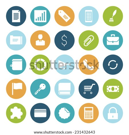 Flat design icons for business. Vector illustration. - stock vector
