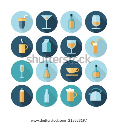 Flat design icons for drinks. Vector eps10 with transparency. - stock vector