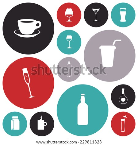 Flat design icons for drinks. Vector illustration. - stock vector