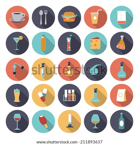 Flat design icons for food and drinks industry. Vector eps10 with transparency. - stock vector