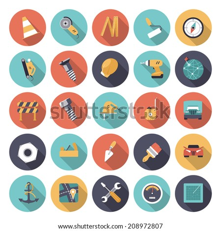 Flat design icons for industrial. Vector eps10 with transparency. - stock vector