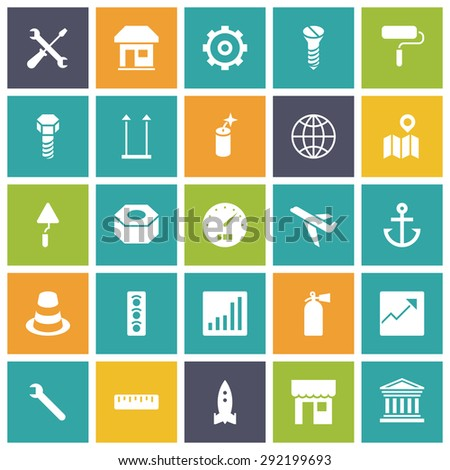 Flat design icons for industrial. Vector illustration. - stock vector