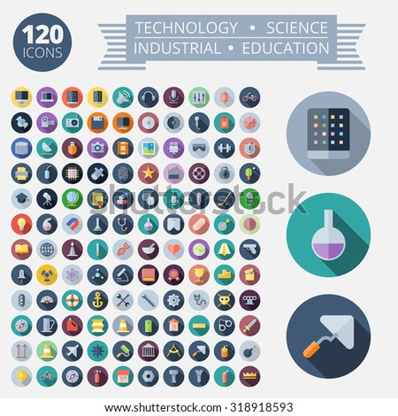 Flat Design Icons For Technology, Industrial, Science and Education. Vector eps10. Easy to recolor. Transparent shadows and relief in separate layers. - stock vector