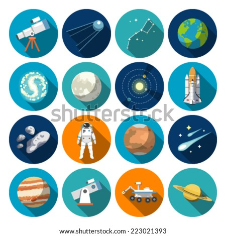 Flat design icons of astronomy. Vector icons.#1 - stock vector