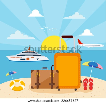 Flat design, Icons set of traveling  - stock vector