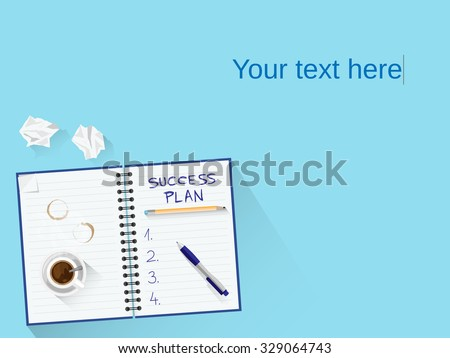 Flat design illustration concept for business and education with blank space for your text or graphics. Concept for web banners and promotional materials. Editable vector. Blue version for men. - stock vector