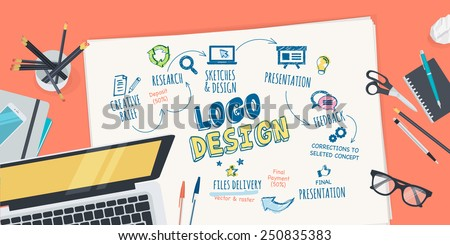Flat design illustration concept for logo design creative process. Concept for web banner and promotional material. - stock vector