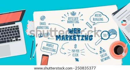 Flat design illustration concept for web marketing. Concept for web banner and promotional material. - stock vector