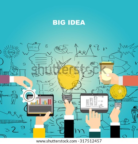 Flat design illustration concepts for big idea, marketing, brainstorming, business, team work, company strategy, project management. Concept for web banner and promotional material. - stock vector
