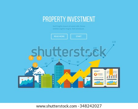 Flat design illustration concepts for business analysis and planning, financial report and strategy. Business diagram graph chart. Investment growth. Investment business. Property investment - stock vector