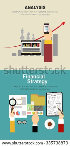 Flat design illustration concepts for business analysis and planning, financial strategy, consulting, team work, project management and development.  - stock vector