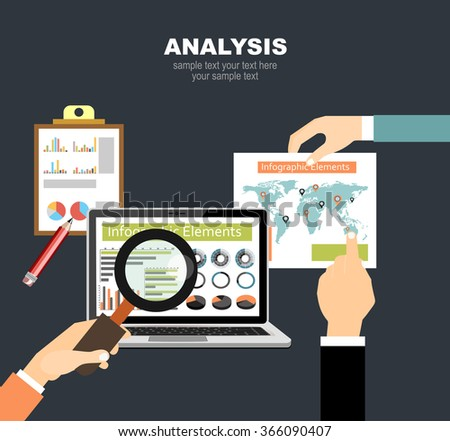 Flat design illustration concepts for business analysis and planning, financial strategy, consulting,project management and development. Concept to building successful business - stock vector