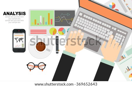 Flat design illustration concepts for business analysis and planning, financial strategy, consulting, project management and development. Concept to building successful business - stock vector