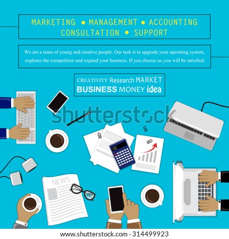 Flat Design Illustration Concepts For Business, Marketing, Management, Accounting, Consultation, Support. For Web Banner And Printed Materials - stock vector