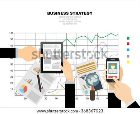 Flat design illustration concepts for business strategy. Concepts for web banner and promotional material. - stock vector