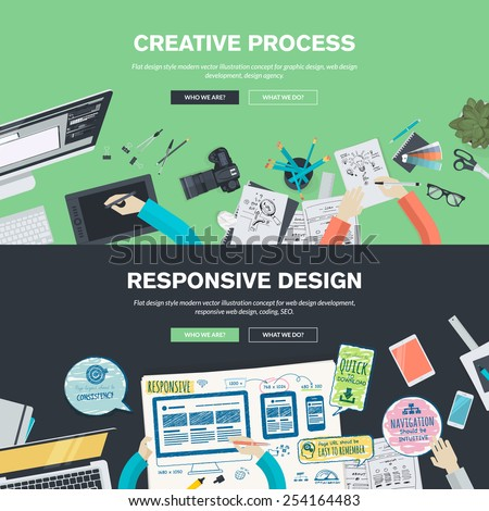 Flat design illustration concepts for creative process, graphic design, web design development, responsive web design, coding, SEO, design agency. Concepts web banner and printed materials. - stock vector