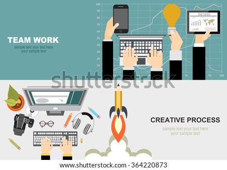 Flat design illustration concepts for creative process, graphic design, web design development, responsive web design, team work, analysis.Concepts for web banner and printed materials. - stock vector