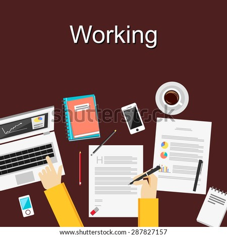 Flat design illustration concepts for working, study hard, management, career, brainstorming, finance, working, analysis. Concepts for web banner and printed materials. - stock vector