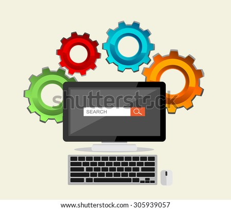 Flat design illustration for SEO concept, search engine, search process.  - stock vector