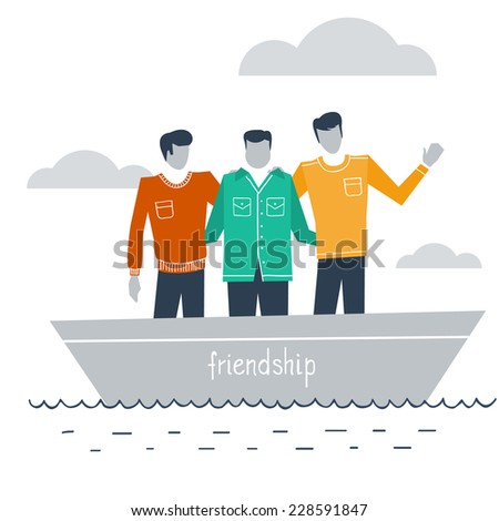 flat design illustration of best friends in a boat - stock vector