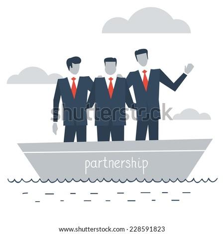 flat design illustration of business partnership - stock vector