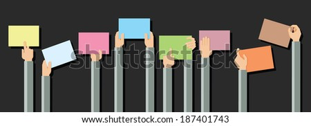 Flat design illustration of hands holding paper with copy space for text  - stock vector