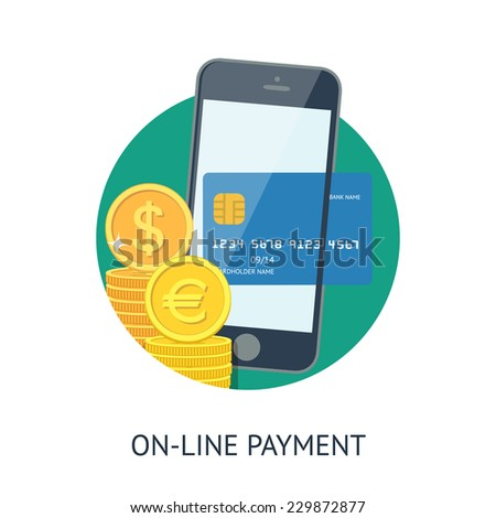 Flat design illustration processing of mobile payment credit card. Online purchase on digital smatphone. - stock vector
