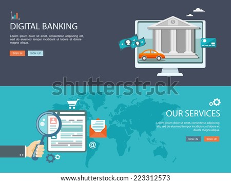 Flat design illustration set with icons and text.Digital banking and services.Eps10 - stock vector