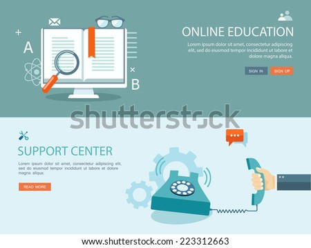 Flat design illustration set with icons and text. Online education and support center. Eps10 - stock vector