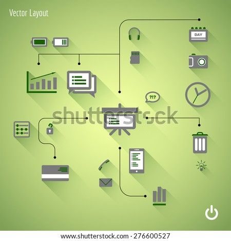 Flat design illustration. Vector infographic concept with icons set. Business and trend of media. - stock vector