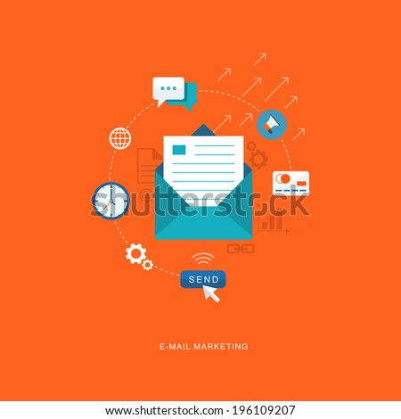 Flat design illustration with icons. E-mai marketing, broadcast. eps8 - stock vector