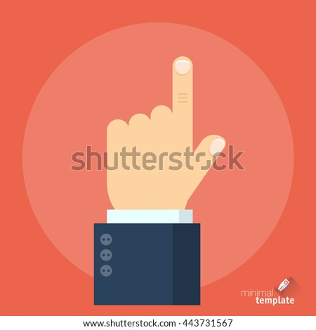 Flat design interface vector icon of hand with finger pointing direction. Pointing finger showing right direction, the sign of how to and where, icon for application, presentation and web design. - stock vector